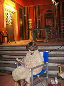 Reading on film set in Tunisia.
