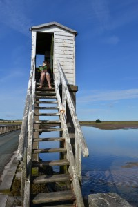 Reading in the safety tower on the Lindisfarne causeway.