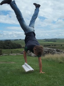 Extreme Reading on Hadrian's Wall at Housesteads Fort.